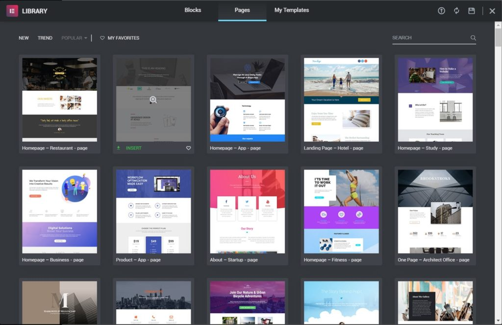 Elementor page templates to set for your website